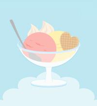 いちごアイスデザートイラスト素材