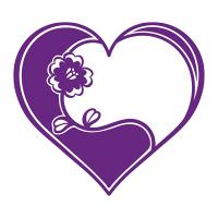 紫ハートフレーム花