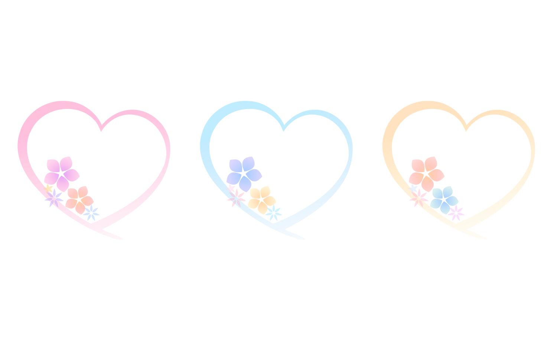 花とハートのフレームイラスト素材 ピンク・水色・黄色 : ハートの素材屋