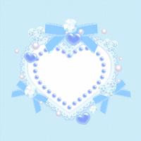 デコレーションハートフレーム素材ブルー