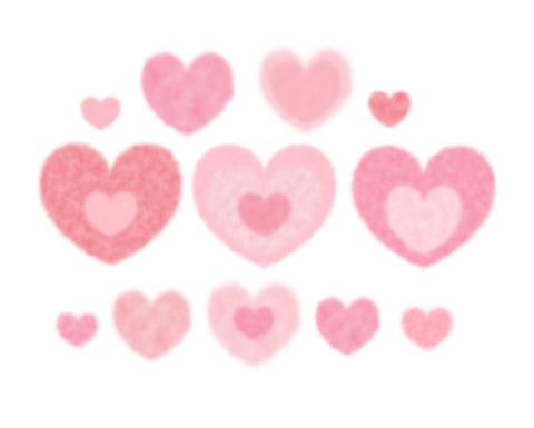 ほわほわの素朴なハートマーク素材 淡いピンク色