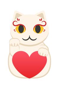 右手を上げている白い招き猫のイラスト素材
