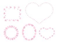 淡いピンクハートのミニフレームセット円形・楕円形・四角・ハート型