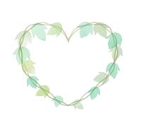 水彩風手描き葉っぱのハートフレーム くすんだ緑の葉のイラスト