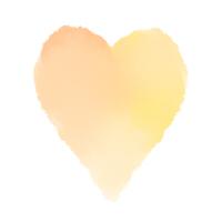 黄色からオレンジの細長い水彩ハート