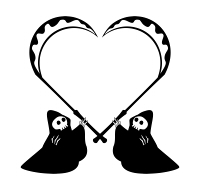 死神の鎌ハートイラスト 黒単色