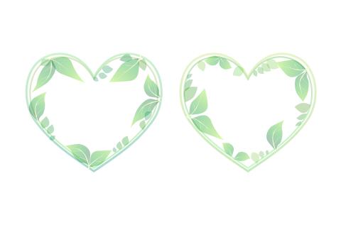 葉っぱのハートフレーム2種類セット グリーンの葉で装飾されたフレームイラスト素材