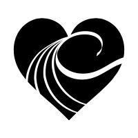 白い波模様の黒ハート03