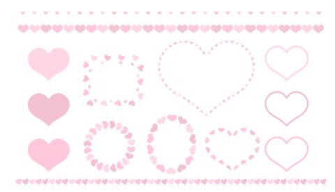 ハートマークが連なるラインと、丸型・楕円・ハート型のフレームセット淡いピンク色の装飾フリー素材