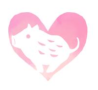 水彩風手描きイノシシイラスト素材ピンクに白抜き