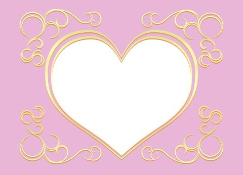金色ハートフレームの無料素材 落ち着いた色合いのピンク背景に、白抜きハートと装飾模様