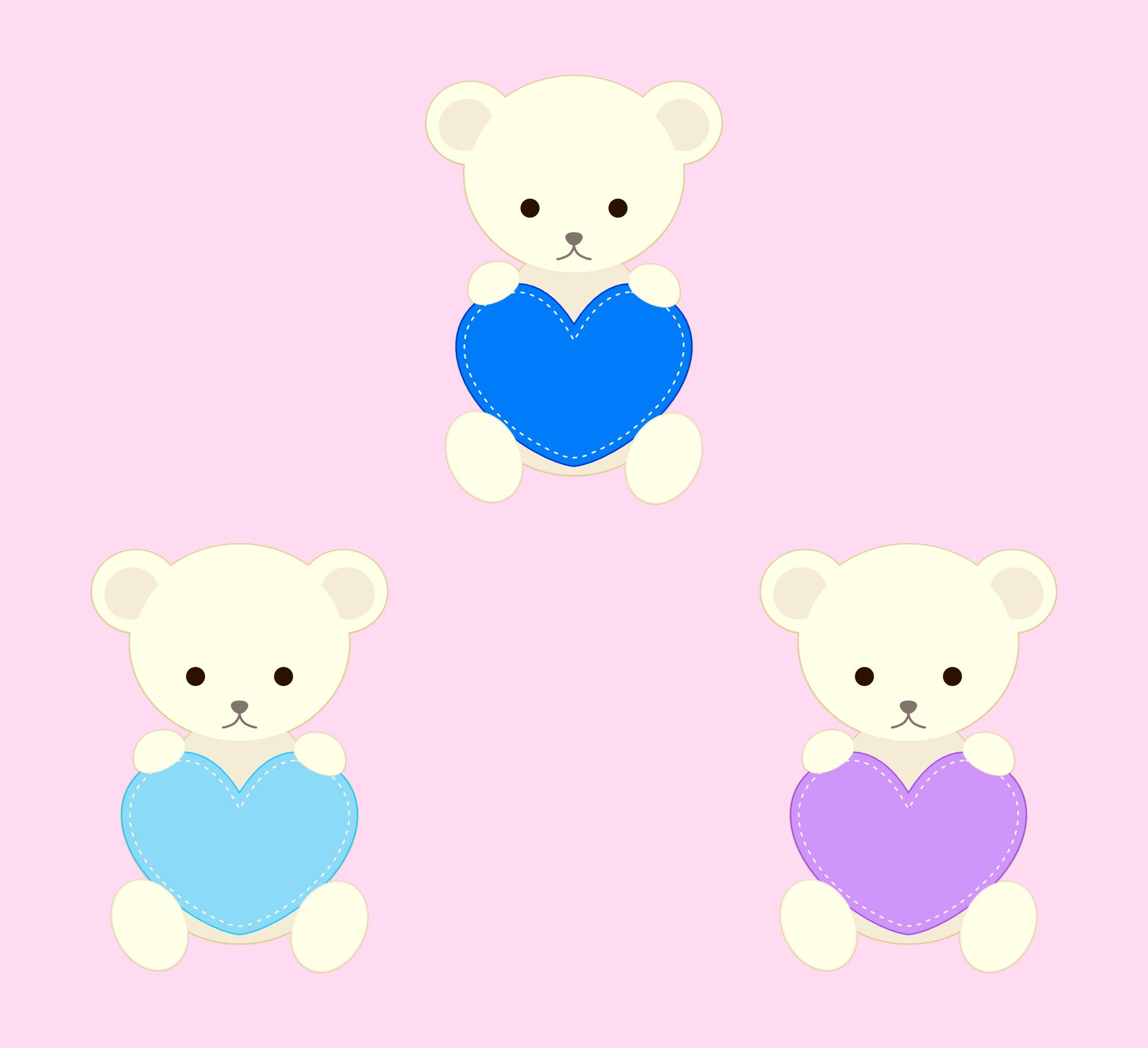 テディベアとハートのイラスト素材 白クマ : ハートの素材屋