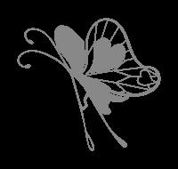 グレーの蝶イラスト素材