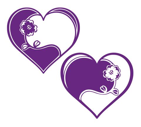 480紫色花ハート2種