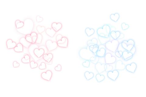 散らばる白抜きのハート模様背景素材 薄い色のピンクとブルー