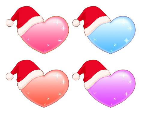 サンタの帽子をかぶったハートのイラスト素材 色はピンクと水色、オレンジ、薄紫