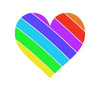 右下虹色のハートマーク