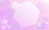 雪の結晶とハート背景紫