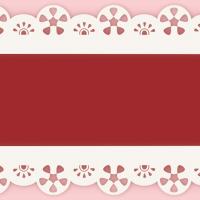 太め赤いリボン白い縁取りレースのライン