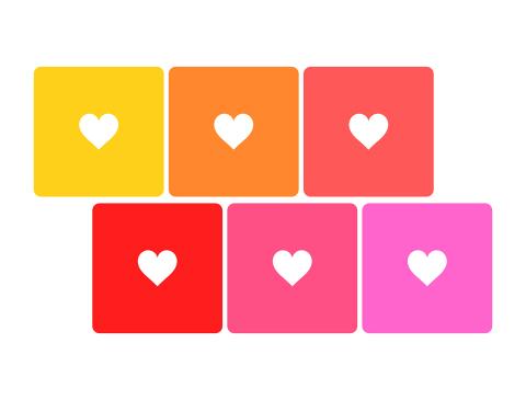 シンプルな白抜きのハート素材 黄色とオレンジ、赤、ピンク