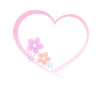 ハートフレーム花イラストピンク