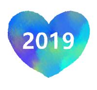 2019ハート素材水彩風濃い青