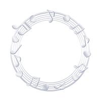 銀色音符の輪っかイラスト素材
