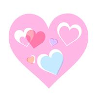 淡いピンクハートに小さな水色のハートが重なるイラスト素材