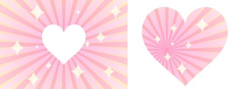 放射状ラインのピンク背景に、白抜きハートマークやキラキラ模様