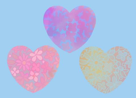 透過サンプル手描き花模様水彩風ハートイラスト