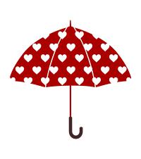 赤い傘のフリーイラスト素材