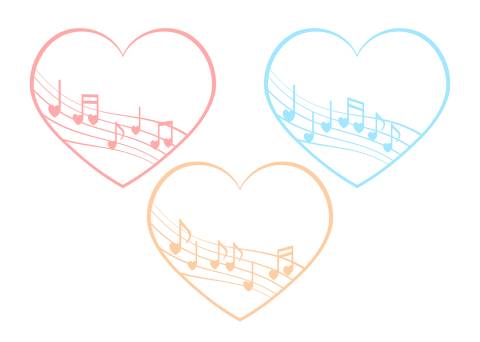 音符と5線のハートフレーム ピンク・水色・黄色