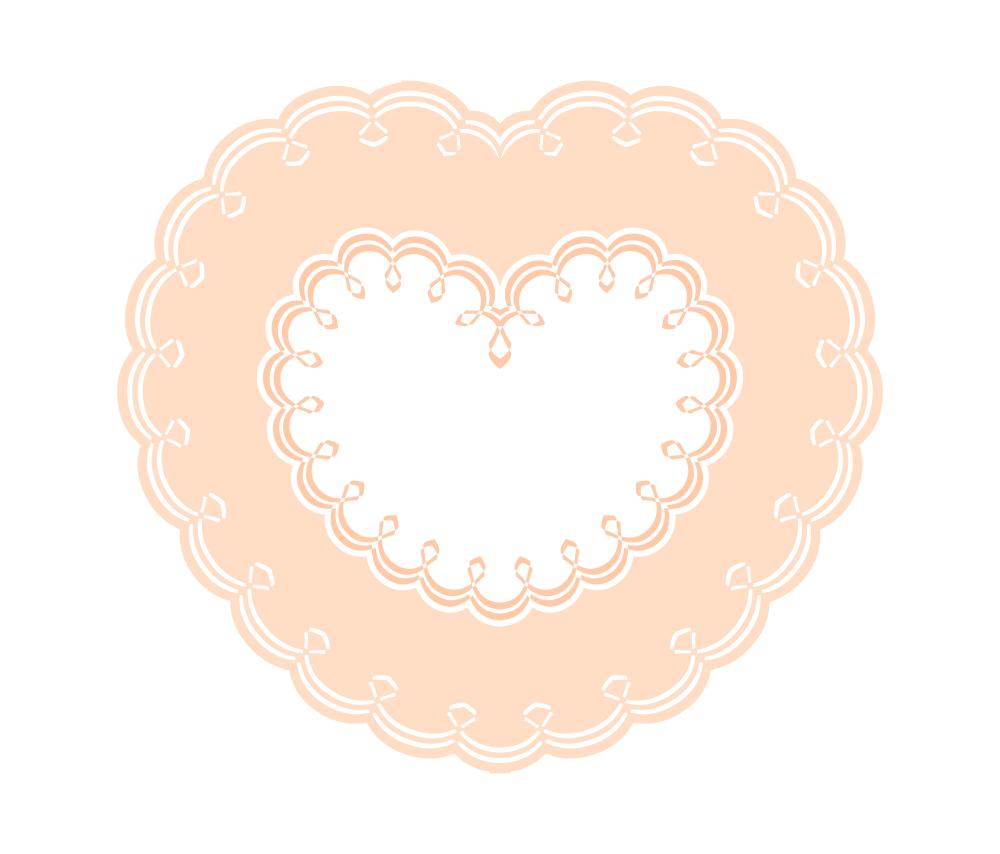 オレンジ二重枠の装飾ハートフレーム