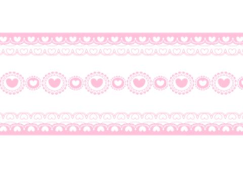 ハート装飾ラインピンク