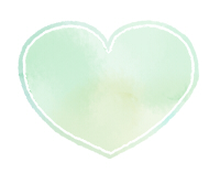 丸みのあるハートマーク水彩風緑色