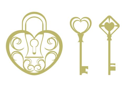 ハート型の錠と鍵のイラスト素材