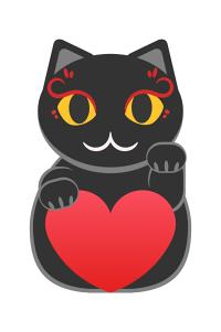 左手を上げている黒い招き猫のイラスト素材