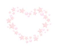 散らばるピンク星ハートイラスト素材