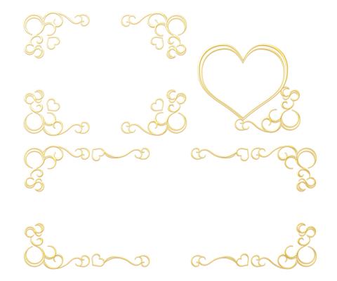 ハートと蔓模様の四角・横長フレーム 金色