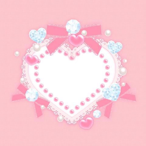 デコレーションハートフレーム素材ピンク