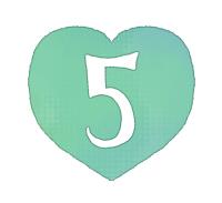 手描き数字5緑色のハート