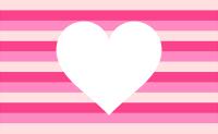 濃いピンクと薄ピンクのボーダー柄に白抜きされたハート