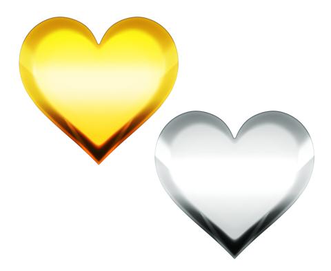 金色と銀色のハートマーク