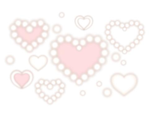 無料イラスト素材 白とピンクのフワッとしたハートフレーム