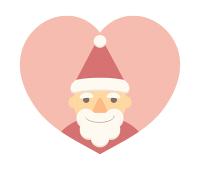 サンタの顔イラストハート素材