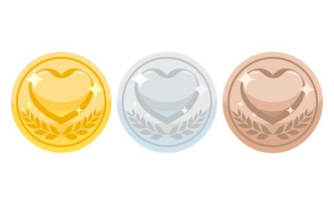 ハートコインのイラスト素材金銀銅色