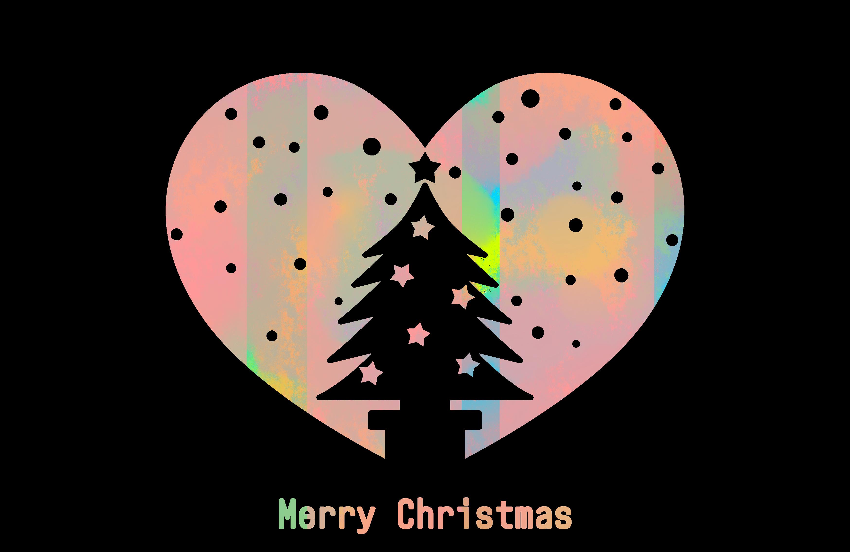 フリーイラスト素材 クリスマスツリーのシルエットハート : ハートの素材屋