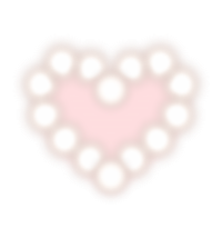 白丸が連なったハートフレーム 内側はピンク