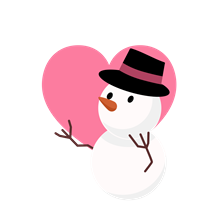 透過雪だるまフリーイラストピンク