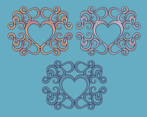 サンプル点描風の装飾ハート枠